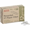 ACCO® Recycled Paper Clips - No. 1 - 10 Sheet Capacity - Durable, Reusable - 100 / Pack - Silver - Metal