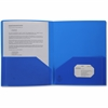 "Business Source 2-pocket Poly Portfolio - Letter - 8 1/2"" x 11"" Sheet Size - 30 Sheet Capacity - 2 Pocket(s) - Poly - Blue - 1 Each"