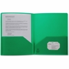 "Business Source 2-pocket Poly Portfolio - Letter - 8 1/2"" x 11"" Sheet Size - 30 Sheet Capacity - 2 Pocket(s) - Poly - Green - 1 Each"