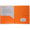 "Business Source 2-pocket Poly Portfolio - Letter - 8 1/2"" x 11"" Sheet Size - 30 Sheet Capacity - 2 Pocket(s) - Poly - Orange - 1 Each"