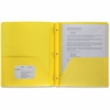 "Business Source 3-Hole Punched Poly Portfolios - Letter - 8 1/2"" x 11"" Sheet Size - 50 Sheet Capacity - 3 x Prong Fastener(s) - 2 Pocket(s) - Poly - Yellow - 1 Each"