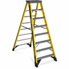 "7308 8 ft Type IAA Fiberglass Step Ladder - 375 lb Load Capacity - 28.5"" x 96"" - Yellow, Silver"