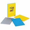 "Post-it Super Sticky Notes, 4 in x 6 in, New York Color Collection, Lined - 270 x Assorted - 4"" x 6"" - Rectangle - 90 Sheets per Pad - Ruled - Assorted - Paper - Self-stick - 3 Pad"