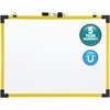 """Quartet® Industrial Magnetic Whiteboard - 9"""" (0.8 ft) Width x 6"""" (0.5 ft) Height - White Painted Steel Surface - Bright Yellow Plastic Frame - Horizontal - 1 / Each"""