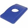 Thin Bin Round Cut Out Blue Lid - Rectangular - 1 Each - Blue