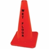 "Wet Floor Safety Cone - 1 Each - Wet Floor Print/Message - 18"" Height - Cone Shape - Heavy Duty - Vinyl - Orange"