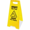 "English/Spanish Wet Floor Sign - 1 Each - Caution Wet Floor Print/Message - 1"" Width x 24.6"" Height - Rectangular Shape - Impact Resistant, Foldable - Vinyl - Yellow, Black"