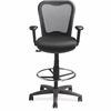 "Lorell Mesh-back Drafting Stool - Fabric Black Seat - 5-star Base - 18"" Width x 29"" Depth x 30"" Height"