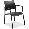 "Lorell Stack Chair with Arms - Plastic Black Seat - Plastic Black Back - 5-star Base - 23"" Width x 28"" Depth x 43"" Height"