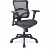 "Lorell Full Mesh Mid-back Chair - Plastic Black Frame - 5-star Base - Black - 20.10"" Seat Depth"
