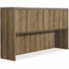 "Lorell Chateau Series Walnut Laminate Desking - 66.1"" x 14.8"" x 36.5"" Hutch, Top - Drawer(s)4 Door(s) - Reeded Edge - Material: P2 Particleboard - Finish: Walnut, Laminate"