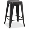 "Lorell Metal Stool - Powder Coated Frame - Black - Metal - 16"" Width x 16"" Depth x 24"" Height"