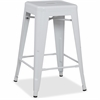 "Lorell Metal Stool - Powder Coated Frame - White - Metal - 16"" Width x 16"" Depth x 24"" Height"