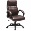 "Lorell Deluxe High-back Leather Chair - Leather Seat - Leather Back - 5-star Base - Brown - 27"" Width x 32"" Depth x 44.5"" Height"