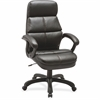 "Lorell Luxury High-back Leather Chair - Bonded Leather Seat - Bonded Leather Back - 5-star Base - Black - 27.8"" Width x 32"" Depth x 44.5"" Height"