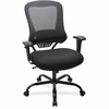 "Lorell Big and Tall Mesh Back Executive Chair - Fabric, Foam Seat - Black - 23"" Width x 30.3"" Depth x 46.8"" Height"