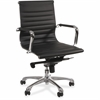 "Lorell Modern Chair Series Mid-back Leather Chair - Leather Seat - Leather Back - 5-star Base - Black - 20"" Seat Width x 18.75"" Seat Depth - 25"" Width x 26"" Depth x 38"" Height"