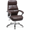 "Lorell Brown Bonded Leather High-back Chair - Bonded Leather Seat - Bonded Leather Back - 5-star Base - Brown - 30"" Width x 15"" Depth x 26"" Height"