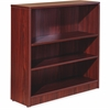 "Lorell Essentials Series Mahogany Laminate Bookcase - 36"" x 12"" x 36"", Shelf - 3 Shelve(s) - Square Edge - Material: Medium Density Fiberboard (MDF) - Finish: Mahogany, Thermofused Laminate (TFL)"