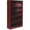 "Lorell Essentials Series Mahogany Laminate Bookcase - 36"" x 12"" x 60"" Bookshelf, Shelf - 5 Shelve(s) - Square Edge - Material: Medium Density Fiberboard (MDF) - Finish: Mahogany, Thermofused Laminate"