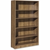 "Lorell Essentials Series Walnut Laminate Bookcase - 36"" x 12"" x 60"" Bookshelf, Shelf - 5 Shelve(s) - Square Edge - Material: Medium Density Fiberboard (MDF) - Finish: Walnut, Laminate"