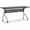 "Lorell Espresso/Silver Training Table - Rectangle Top - Four Leg Base - 4 Legs - 60"" Table Top Width x 23.50"" Table Top Depth - 29.50"" Height x 59"" Width x 23.63"" Depth - Assembly Required - Espresso,"