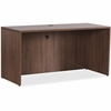 "Lorell Essentials Series Walnut Credenza Shell - 70.9"" x 23.6"" x 29.5"" Credenza, Top, Drawer Pull, Edge - Material: Metal Pull, Polyvinyl Chloride (PVC) Edge - Finish: Walnut Top, Laminate Top, Silver"