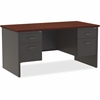 "Lorell Mahogany Laminate/Ccl Modular Desk Series - 60"" x 30"", Top - 2 x Box Drawer(s), File Drawer(s) - Double Pedestal - Material: Steel - Finish: Mahogany Laminate, Charcoal"