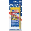The Write Dudes USA Gold American Wood Pencils - 2HB Lead Degree (Hardness) - Graphite Lead - Yellow Wood Barrel - 48 / Pack