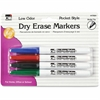 CLI Low Odor Dry Erase Markers - Fine Point Type - Bullet Point Style - Black, Blue, Red, Green - 4 / Each