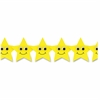 "Hygloss Happy Yellow Stars Border Strips - 12 Happy Stars - Damage Resistant, Durable, Long Lasting - 36"" Height x 3"" Width - Yellow - 12 / Pack"