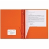 "Sparco Two-pocket 3-Prong Leatherette Portfolio - Letter - 8 1/2"" x 11"" Sheet Size - 3 x Double Prong Fastener(s) - 2 Internal Pocket(s) - Leatherette Paper - Orange - 25 / Box"