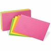 "Oxford Neon Glow Ruled Index Cards - Front Ruling Surface - Ruled - 3"" x 5"" - Assorted Paper - 300 / Pack"