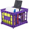 Storex Storage Case - Stackable - Red, Blue, Purple - For File, Classroom Supplies - Recycled - 1 / Set