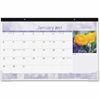 At-A-Glance Floral Images Monthly Desk Pad - Julian - 1 Year - January 2017 till December 2017 - 1 Month Single Page Layout - Headband - Desk - Assorted - Notes Area, Moon Phases, Reference Calendar,