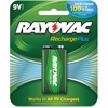 Rayovac Recharge Plus 9-volt Battery - 200 mAh - 9V - Nickel Metal Hydride (NiMH) - 9 V DC - 6 / Carton