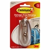 Command Adhesive Large Decorative Hook - 5 lb (2.27 kg) Capacity - for Decoration, Indoor - Plastic - Metallic Silver - 1 Pack