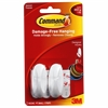 Designer Adhesive Plastic Hooks - 1 lb (453.6 g) Capacity - for Decoration - Plastic - White - 2 / Pack