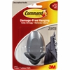 Command Adhesive Double Hanging Hook - 3 lb (1.36 kg) Capacity - for Home - Plastic - Graphite - 2 / Pack