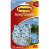 Command Adhesive Strips Medium Hanging Hooks - 2 lb (907.2 g) Capacity - for Decoration - Plastic - Clear, Clear - 2 / Pack