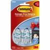 Command Adhesive Strips Hanging Small Hooks - 1 lb (453.6 g) Capacity - for Decoration - Plastic - Clear, Clear - 2 / Pack