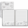 House of Doolittle Doodle Notes Spiral Notebook - 111 Pages - Printed - Spiral Bound - Black & White Cover Flower - Recycled - 1Each