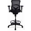 "Lorell Mesh Back Stool - Fabric Seat - Plastic Black Frame - 5-star Base - Black - 19.10"" Seat Width x 20.10"" Seat Depth - 26.6"" Width x 25"" Depth x 50"" Height"