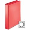 """Business Source Ring Binder - 1 1/2"""" Binder Capacity - Round Ring Fastener - 2 Internal Pocket(s) - Red"""