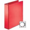 """Business Source Ring Binder - 2"""" Binder Capacity - Round Ring Fastener - 2 Internal Pocket(s) - Red"""