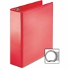 "Business Source Ring Binder - 3"" Binder Capacity - Round Ring Fastener - 2 Internal Pocket(s) - Red"