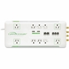 Compucessory 10-Outlet Surge Suppressor/Protector - 10 x AC Power - 3420 J - Coaxial Cable Line