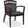 "Lorell Guest Chair - Bonded Leather Black Seat - Bonded Leather Black Back - Solid Wood, Rubberwood Frame - Four-legged Base - Espresso - 20.13"" Seat Width x 19.13"" Seat Depth - 23.3"" Width x 24.4"" De"
