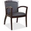 "Lorell Guest Chair - Bonded Leather Black Seat - Bonded Leather Black Back - Solid Wood, Rubberwood Frame - Four-legged Base - Espresso - 20.13"" Seat Width x 19.13"" Seat Depth - 23.3"" Width x 24.4"" De"