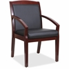 "Lorell Guest Chair - Bonded Leather Black Seat - Bonded Leather Black Back - Solid Wood, Rubberwood Frame - Four-legged Base - Walnut - 20.13"" Seat Width x 17.38"" Seat Depth - 23.3"" Width x 24.4"" Dept"